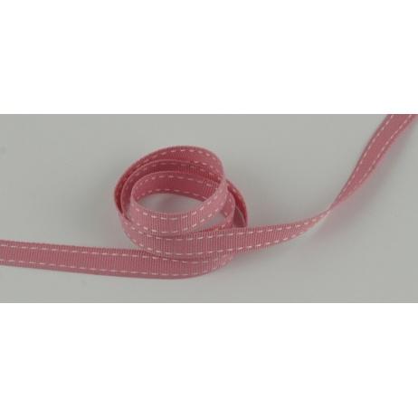 Tasiemka rypsowa różowa przeszywana 10mm x 1m