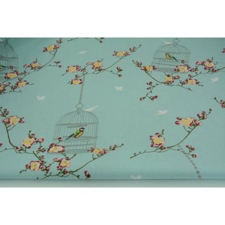 Bawełna 100% A ptaszki w klatkach na miętowym tle