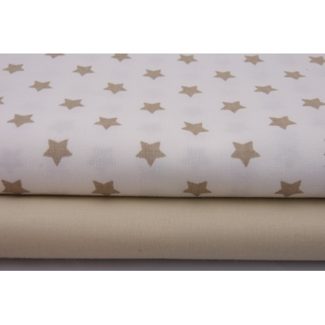 Cotton 100% beige stars on a white background