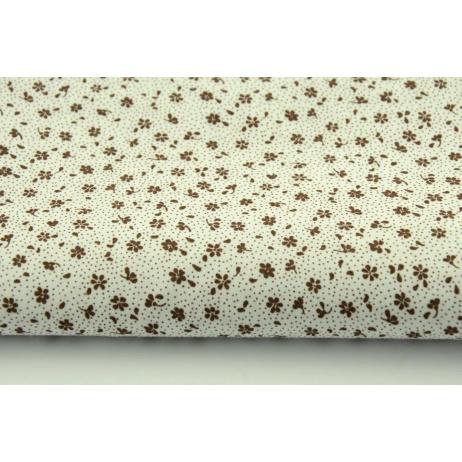 Bawełna 100% brązowa łączka na białym tle, drobne kwiatki