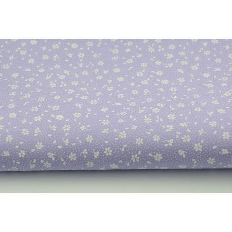 Bawełna 100% biała łączka na fioletowym tle, drobne kwiatki