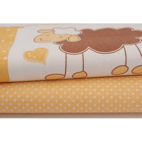 Cotton 100% yellow, orange sheep