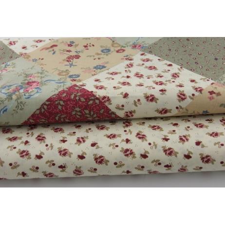 Bawełna 100% patchwork romby bordo/beż/zieleń