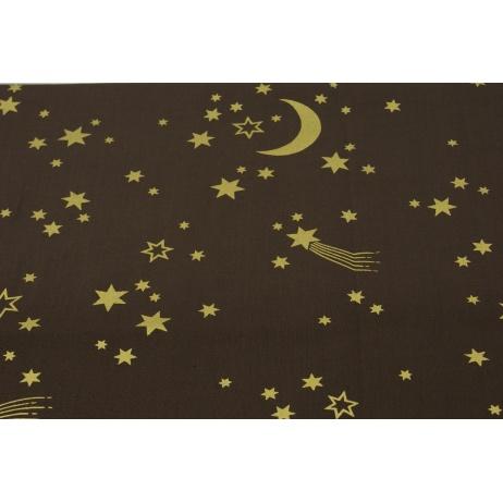 Bawełna 100% złote gwiazdki na brązie