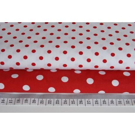 Bawełna 100% biała w czerwone kropki 1m