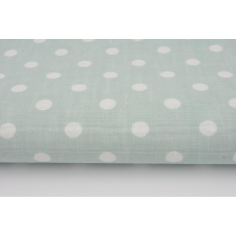 Cotton 100% white 8mm dots on a mint background