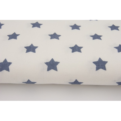 Cotton 100% navy blue stars on a white background