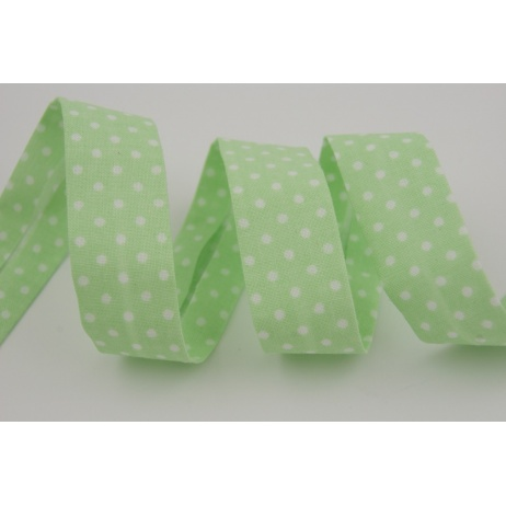 Cotton bias binding green dotted