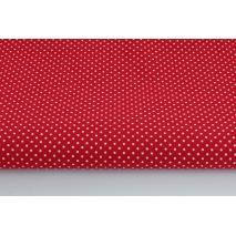 Bawełna 100% kropki białe 2mm na bordowym tle