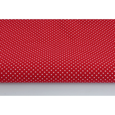 Cotton 100% white polka dots 2mm on a burgundy background