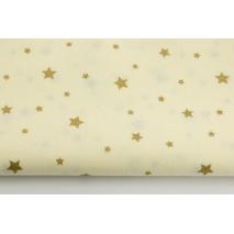Bawełna 100% złote gwiazdki na waniliowym tle