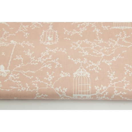 Cotton 100% cages and birds on a powder pink background