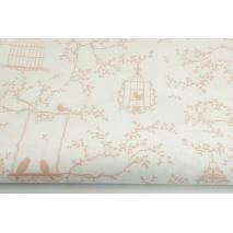 Bawełna 100% klatki, ptaszki pudrowy róż na białym tle