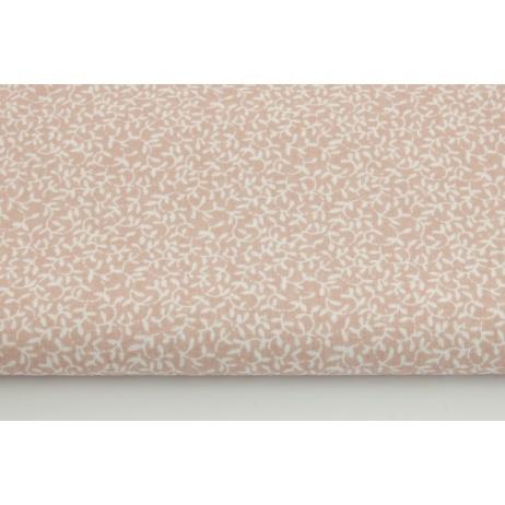 Bawełna 100% drobne listki na pudrowym różu