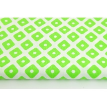 Cotton 100% green diamonds with dots on a white background
