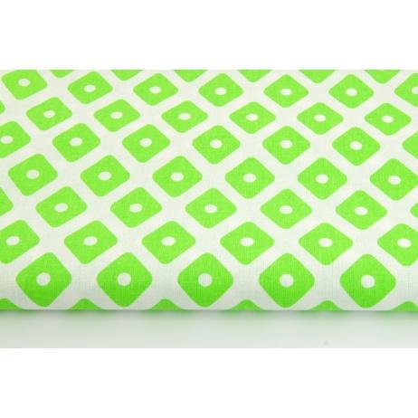 Bawełna 100% zielone romby z kropkami na białym tle