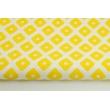 Bawełna 100% żółte romby z kropkami na białym tle