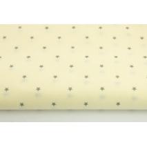 Bawełna 100% drobne, szare gwiazdki na waniliowym tle