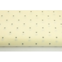Cotton 100% small, gray stars on a vanilla background