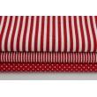 Bawełna 100% bordowe paski 2x1mm na białym tle