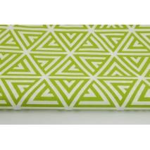 Bawełna 100% zielone piramidy na białym tle