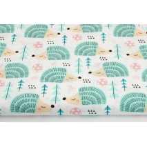 Cotton 100% pastel mint hedgehogs on a white background