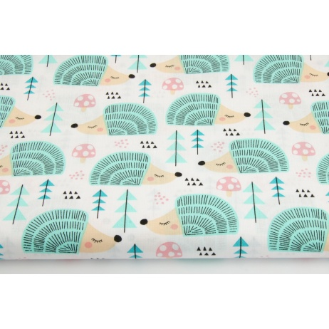 Cotton 100% pastel hedgehogs on a white background