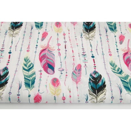 Cotton 100% feathers with beads in pink-green
