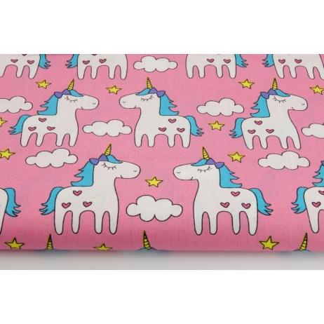 Cotton 100% unicorns on a pink background