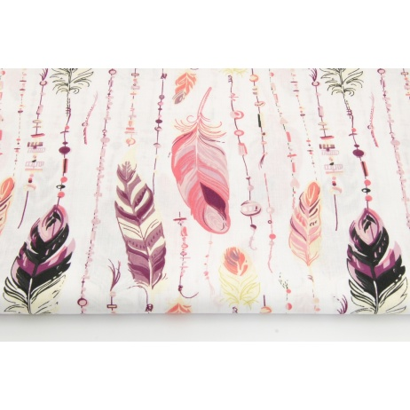 Cotton 100% feathers with beads in coral-violet