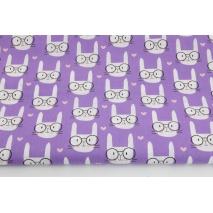 Bawełna 100%, króliczki w okularach na fioletowym tle
