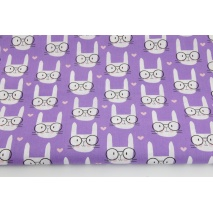 Cotton 100% bunnies with glasses on a purple background