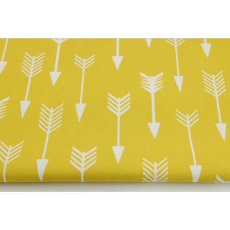 Cotton 100% white arrows on a mustard background
