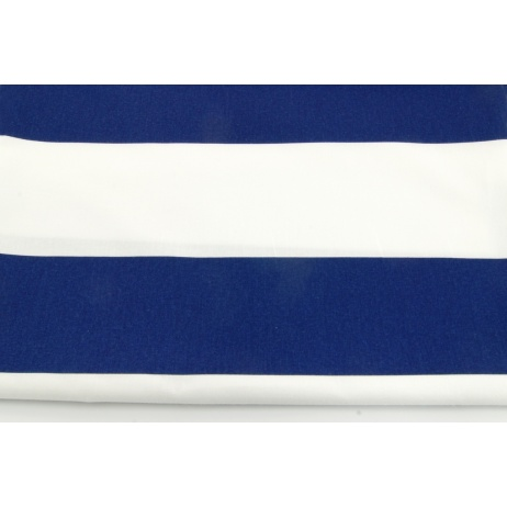 Cotton 100% navy stripes 9,5 cm on a white background
