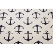 Cotton 100% decorative, large navy anchors on a white background 220g/m2
