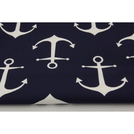Cotton 100% decorative, large white anchors on a navy background 220g/m2