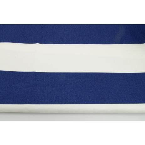 Bawełna 100% dekoracyjna, pasy granatowe 9,5cm na białym tle 220g/m2
