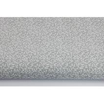 Bawełna 100% drobne listki na jasnoszarym tle