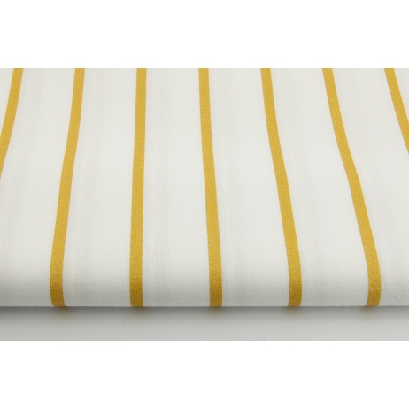 Bawełna 100% złote paski 5mm na białym tle