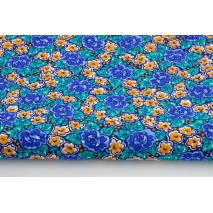 Cotton 100% blue, orange flowers on a navy background