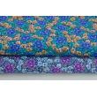 Bawełna 100%, niebieskie, pomarańczowe kwiatki na granatowym tle