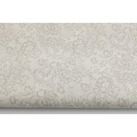 Bawełna 100% szarobeżowa koronka na białym tle