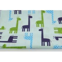 Bawełna 100% żyrafy w paski, kropki na błękitnym tle