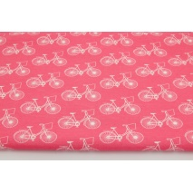 Dzianina bawełniana 100% rowery na malinowym tle