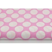Bawełna 100% grochy 3cm na różowym tle