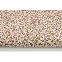 Bawełna 100% drobne, różowe kwiatki na kremowym tle w kropki