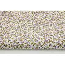 Bawełna 100% drobne, fioletowe kwiatki na kremowym tle w kropki