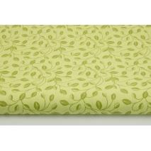 Bawełna 100% listki z łodyżkami na zielonym tle