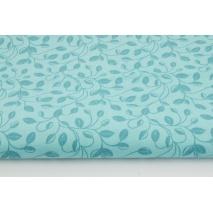 Bawełna 100% listki z łodyżkami na niebieskim tle
