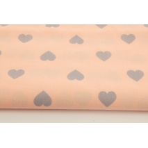 Cotton 100% gray hearts on a salmon background